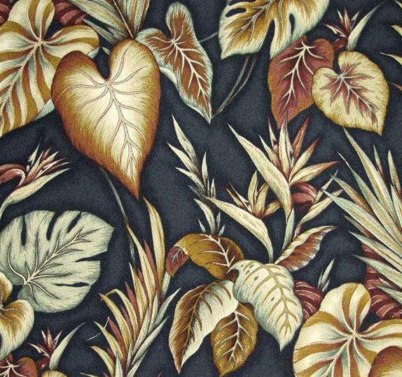Copa Cobana (Black) - Leaf Design – Diamondhead Fabrics