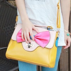 $12.96 Trendy Retro Casual Women's Tote Bag With Color Block and Bowknot Design