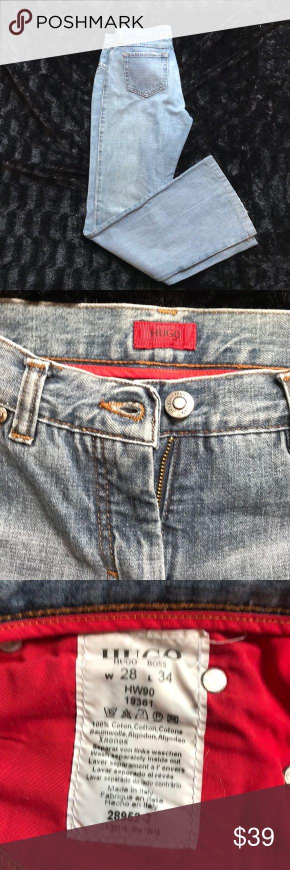 Hugo Boss Jeans . Light flare . W28 L34 Heavy denim Hugo Boss Jeans . Light flare . W28 L34. Minor damage on the bottom of the leg as shown in picture. Hugo Boss Jeans Flare & Wide Leg