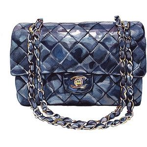 Chanel Bag, Chanel Navy Blue Quilted Lambskin Classic Flap Bag - Watercolor Illustration - Quilted Handbag - Black Color