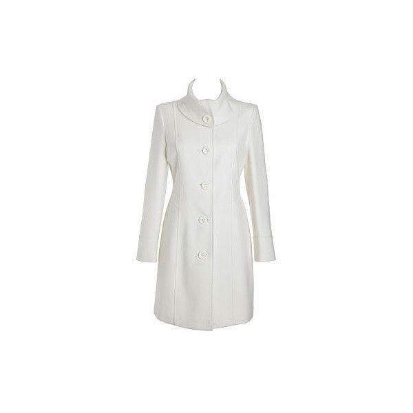 Petite winter white twill coat - Coats - Coats & jackets - Womens - Debenhams found on Polyvore featuring women's fashion, outerwear, coats, jackets, tops, petite coats, white winter coat, ivory coat and twill coat