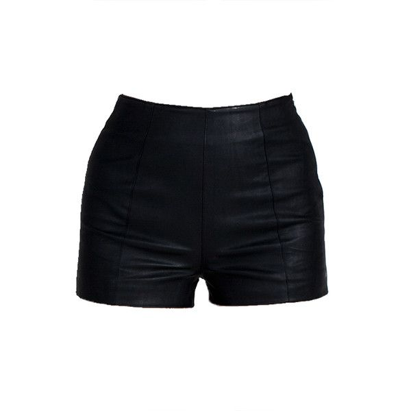 Lush Clothing High Rise Leather Shorts ($32) ❤ liked on Polyvore featuring shorts, bottoms, short, leather short shorts, short shorts, lush clothing, highwaisted shorts and high-waisted shorts
