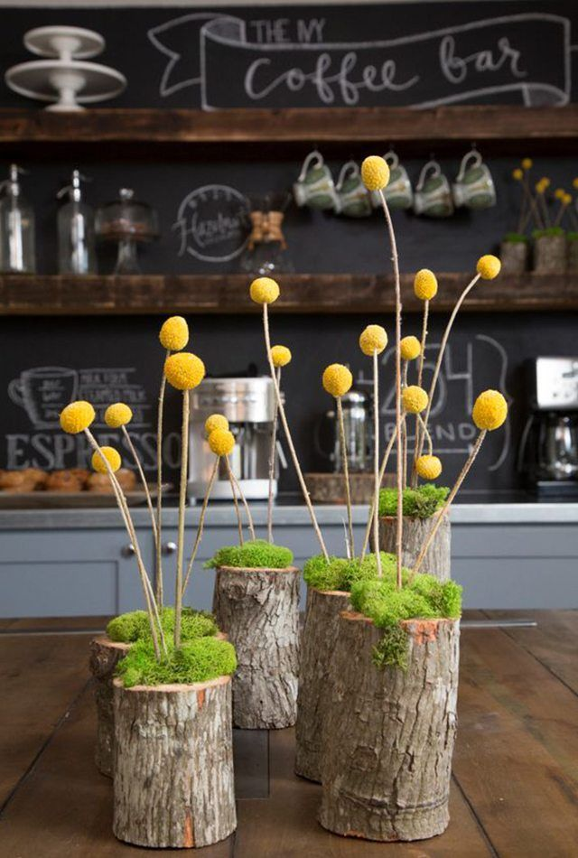 Craspedia Billy Ball Flowers Moss And Small Trunks Yield A Modern Centerpiece To Your Contemporary Tablescape Centerpie Vase Crafts Vases Decor Fixer Upper