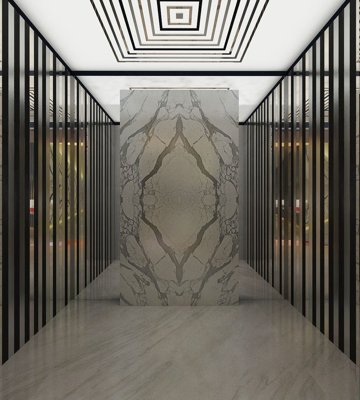 Who needs artwork when you have a striking book matched marble lobby from Monsieur James.