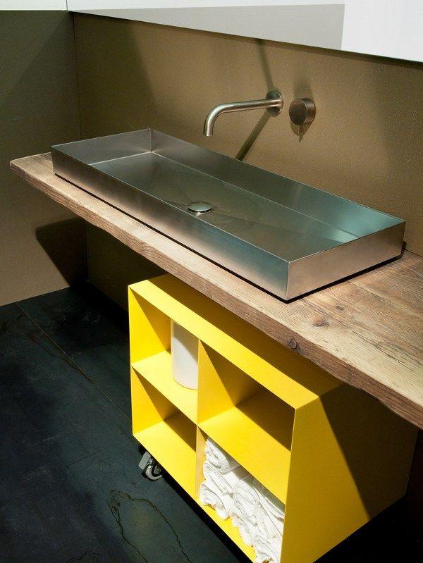 Countertop rectangular steel washbasin INDUSTRIAL LINE | Countertop washbasin - Moab 80