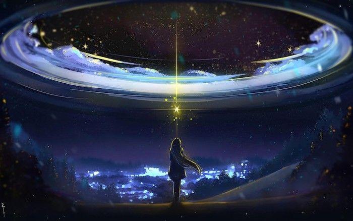 Girl Shining Light At The Sky Galaxy Wallpaper Cartoon Image Stars In The Sky Dark Aesthetic Cool Galaxy Wallpapers Galaxy Wallpaper Anime Galaxy
