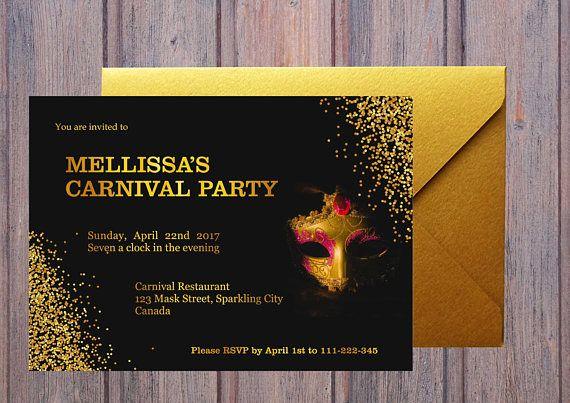 Sparkling Carnival Party Invitation. Mardi Gras Invitation.