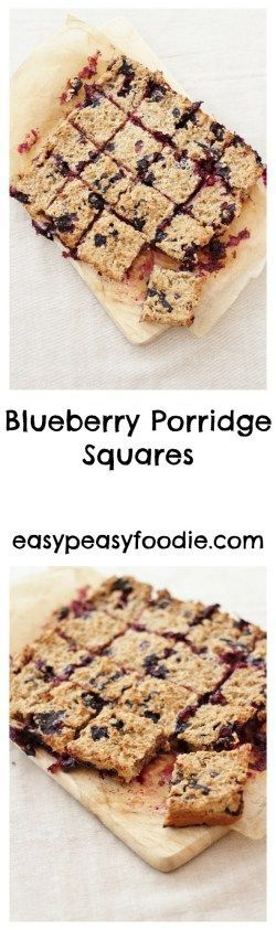 These Blueberry Porridge Squares make a fab healthy breakfast or quick snack in a wonderfully portable format. Best of all they are ridiculously quick and easy to make! #vegetarian #porridge #breakfast #brunch #snack #blueberries #oats #healthy #easy #quick