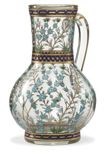 FRENCH GILT AND ENAMELLED GLASS JUG IN THE IZNIK STYLE, SIGNED POTTIER, NICE, FRANCE, DATED 1885.