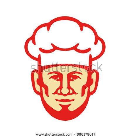 Illustration of a bearded chef cook baker head facing front wearing toque hat set on isolated white background done in retro style.   #baker #retro #illustration