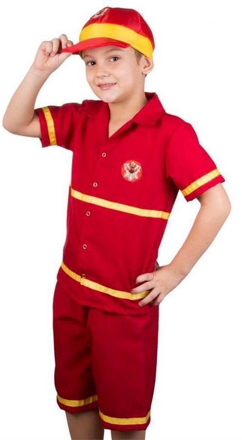 Faça do seu filho a criança mais bem vestida da festa, com essa fantasia de bombeiro elegante, completa e feita com tecido de alta qualidade (Oxford).