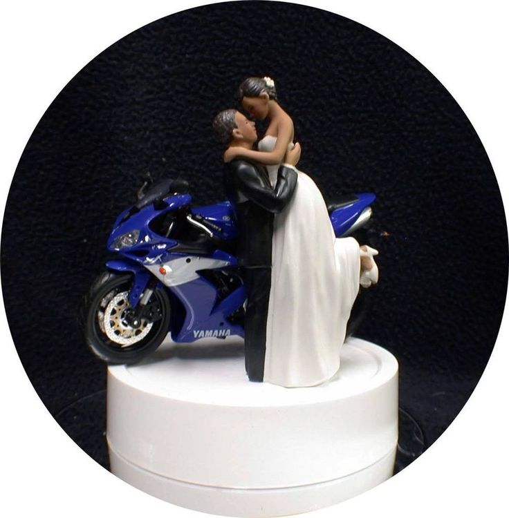 SEXY Black African- American w/ Blue Yamaha Bike Motorcycle Wedding Cake topper