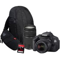 Canon EOS 600D DSLR with EF-S 18-55mm + EF 75-300mm Lens, 16GB Card and Bag