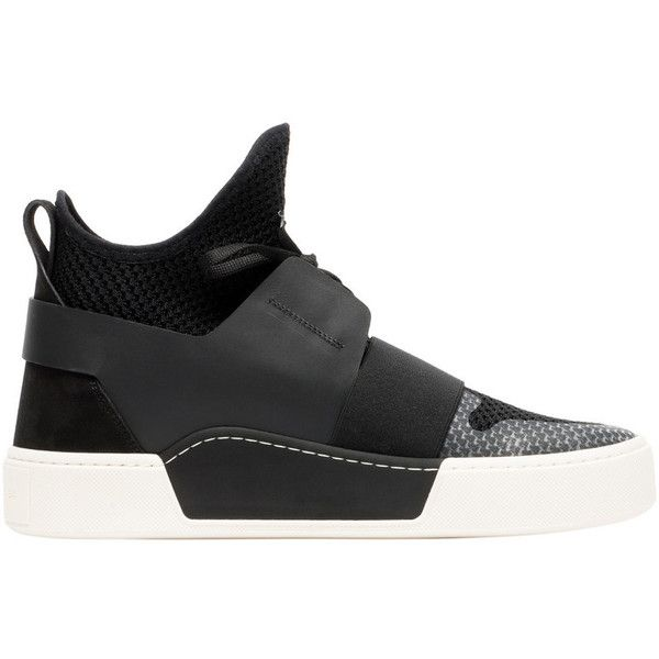 Balenciaga Elastic High Trainers ($595) ❤ liked on Polyvore featuring men's fashion, men's shoes, men's sneakers, black, balenciaga mens sneakers, balenciaga mens shoes, mens high top shoes and mens high top sneakers