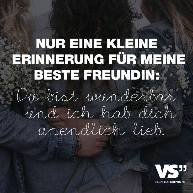 """Visual Statements®️️ Sprüche/ Zitate/ Quotes/ Freundschaft/ """"NUR EINE KLEINE ERINNERUNG FÜR MEINE BESTE FREUNDIN: DU BIST WUNDERBAR UND ICH HAB DICH UNENDLICH LIEB. """""""