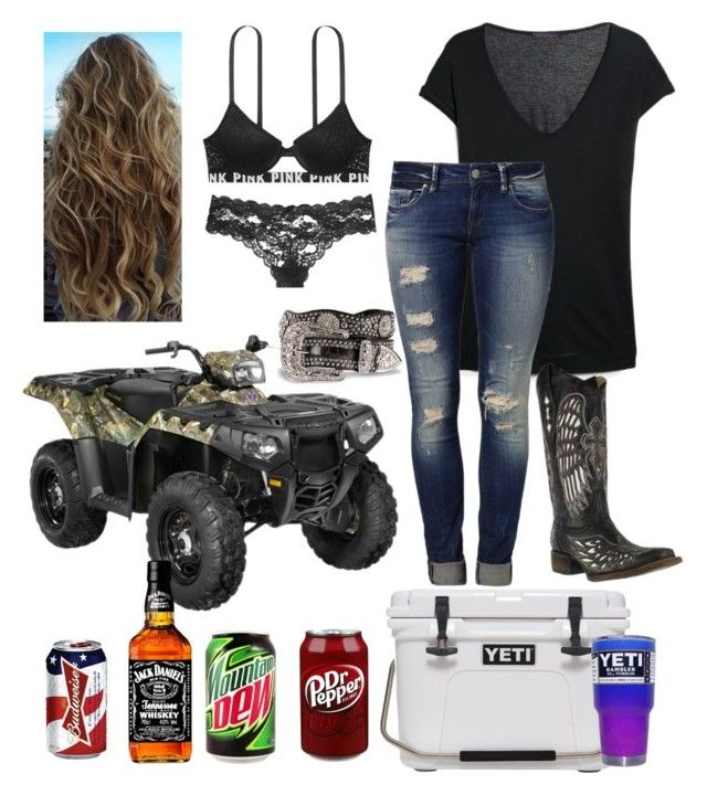 """one helluva night"" by americanhoney-1 ❤ liked on Polyvore featuring Polaris, MANGO, Mavi, Victoria's Secret and Nocona"