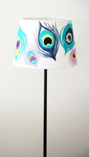 Painted Peacock Lampshades...love the colors and design!! Could also use this pattern/design on canvas to create wall art.