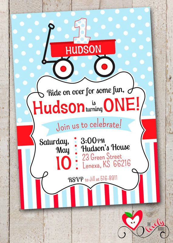 Red Wagon Birthday Invitation // Little Red by thelovelyapple, $15.00