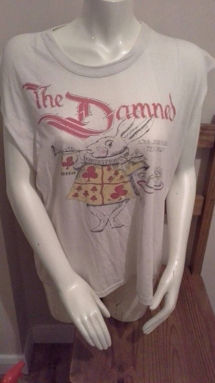 The Damned 10th Anniversary Tea Party t-shirt 1986 (large) Original , purchased at gig, Used ,  double sided, Punk Memorabillia, New Rose by bastarduk on Etsy