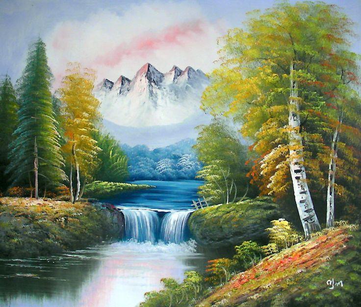 Große Kunst Öl Auf Leinwand Malen. Natur Bergkulisse