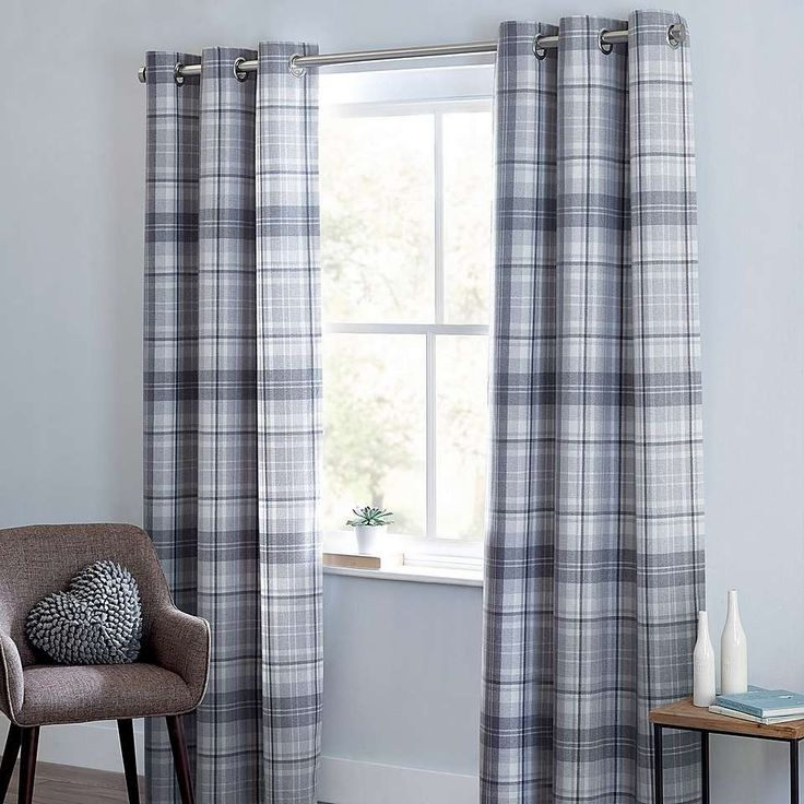 Grey Norfolk Check Woven Eyelet Curtains | Dunelm