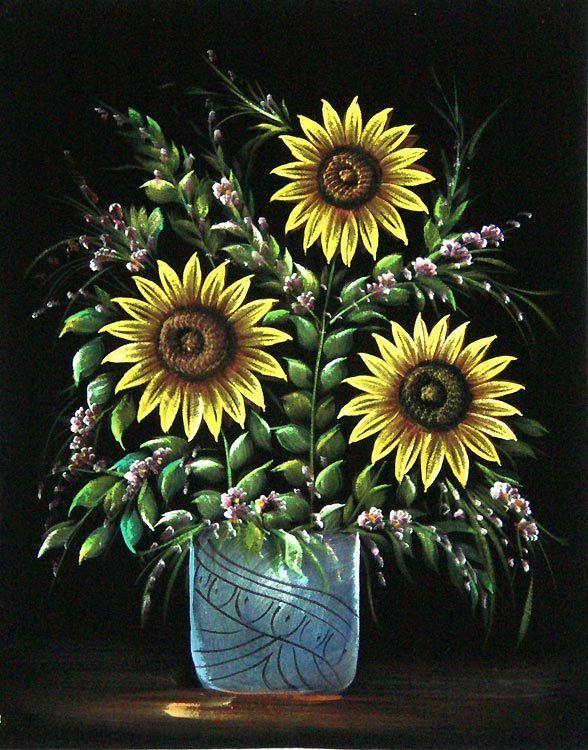 Sunflower (Painting on Velvet Cloth - Unframed))