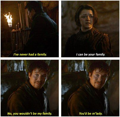 Arya & Gendry- would love to see them together again.