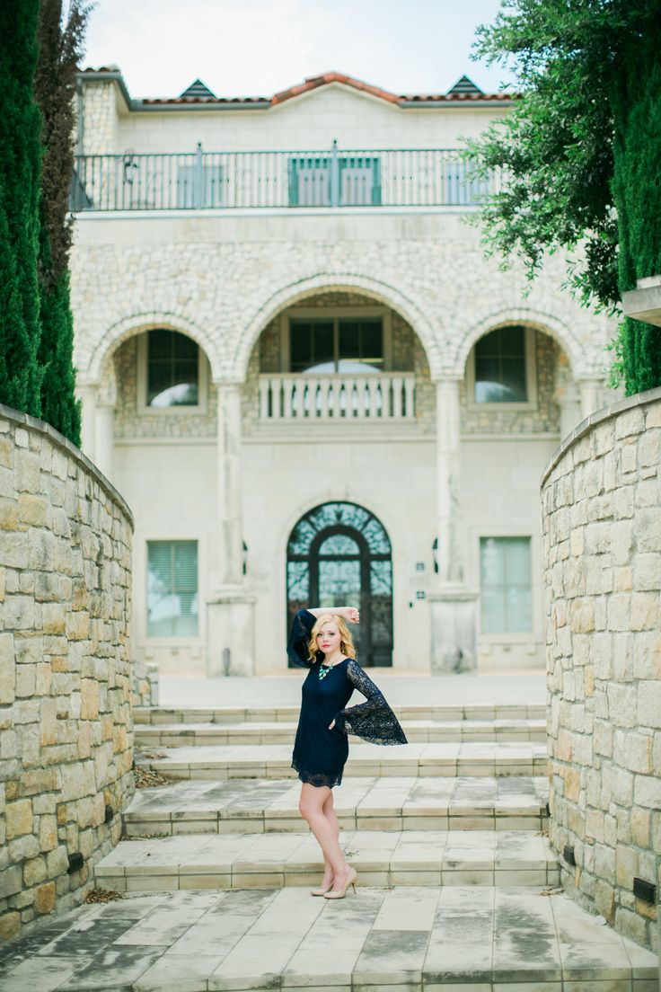 McKinney Texas at Adriatica Village with gorgeous architecture stone walls.  Photo by McKinney Senior Portrait Photographer Chantal Brown Photography.  www.chantalbrownphotography.com
