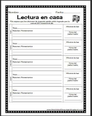 Free download of weekly homework packet in Spanish