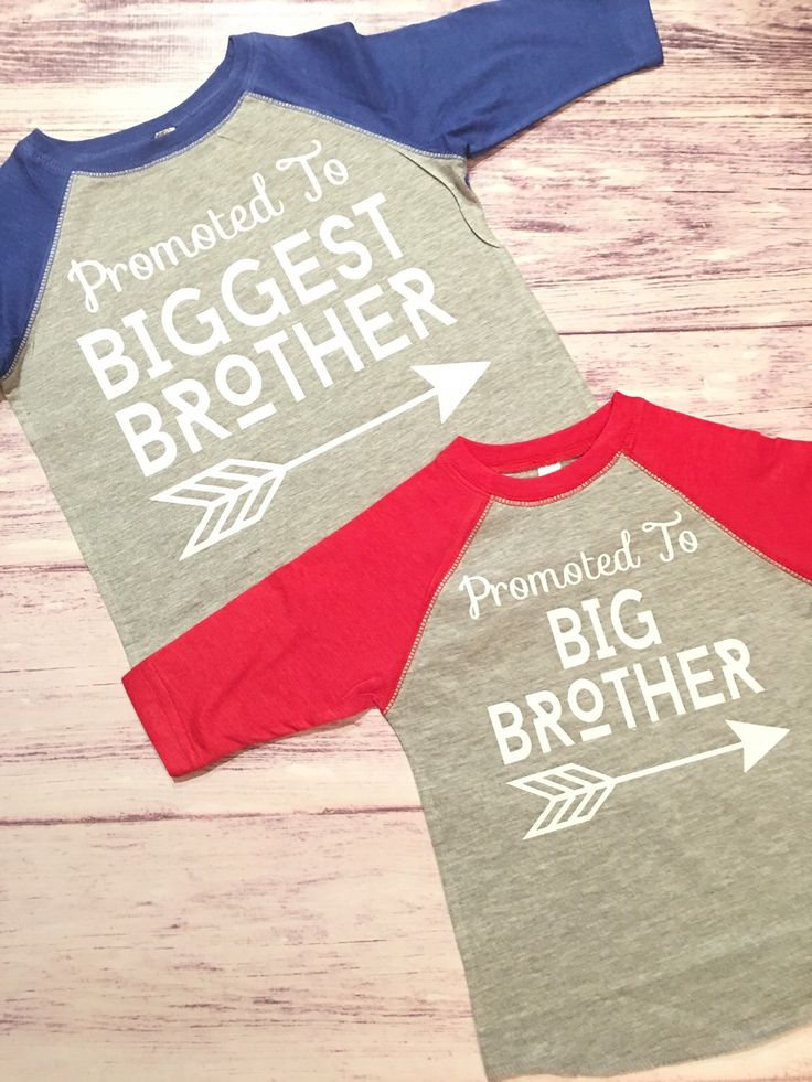 Promoted To Big Brother & Biggest Brother shirts, pregnancy announcement shirt, soon to be big brother shirt, new baby by PurpleElephantSTL on Etsy https://www.etsy.com/listing/264793622/promoted-to-big-brother-biggest-brother