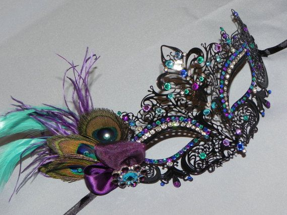 Black Metal Mask with Accents in Purple and by TheCraftyChemist07