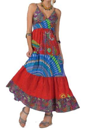 Maxi jurk rood blauw festival