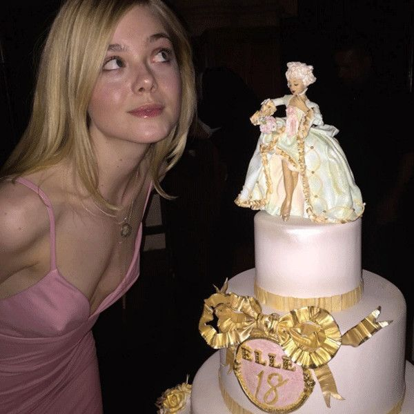 """Elle Fanning from Celebrity Birthday Bashes!  """"I decided to give myself a birthday present,"""" she wrote while revealing her delicious cake. """"a public Instagram.... SURPRISE!"""""""