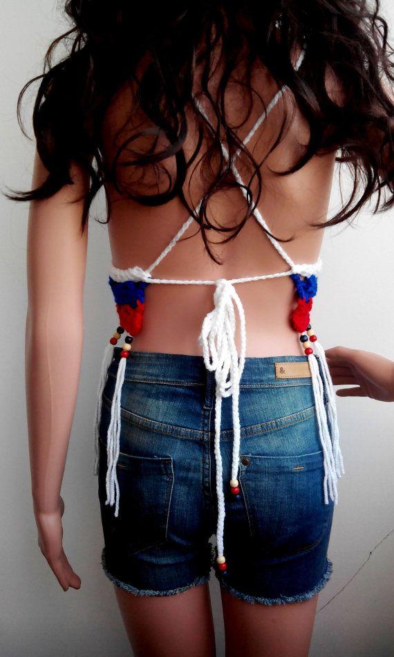 AMERICAN FLAG TOP White Crochet Crop Top Boho Hippie by EliSmile