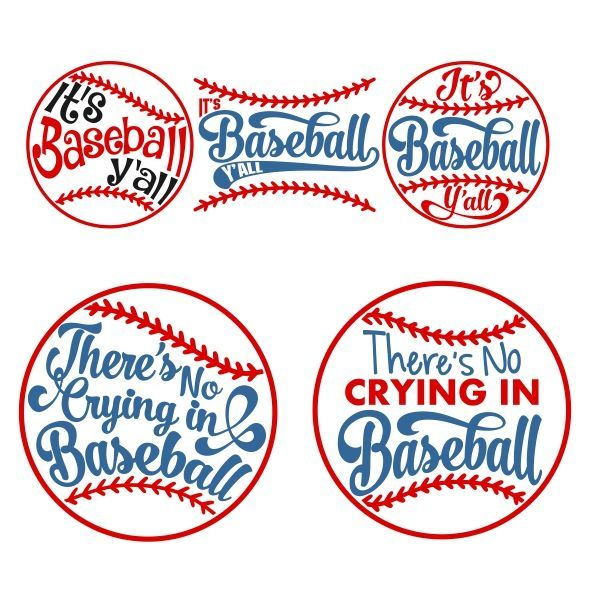 Baseball Sayings Pack - It's Baseball Y'all and There's No Crying in Baseball - Cuttable Design Cut File. Vector, Clipart, Digital Scrapbooking Download, Available in JPEG, PDF, EPS, DXF and SVG. Works with Cricut, Design Space, Sure Cuts A Lot, Make the Cut!, Inkscape, CorelDraw, Adobe Illustrator, Silhouette Cameo, Brother ScanNCut and other compatible software.
