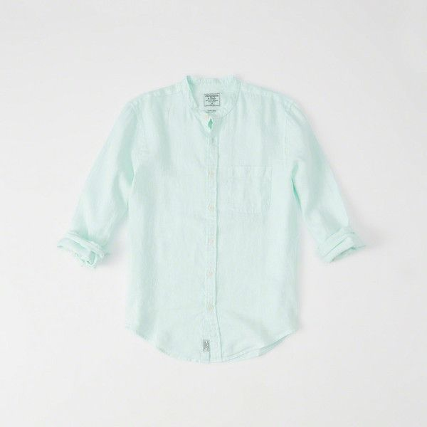 Abercrombie & Fitch Banded Collar Linen Shirt ($58) ❤ liked on Polyvore featuring men's fashion, men's clothing, men's shirts, men's casual shirts, mint green, mens button front shirts, mens casual linen shirts, mens banded collar shirts, mens mint shirt and mens breathable shirts