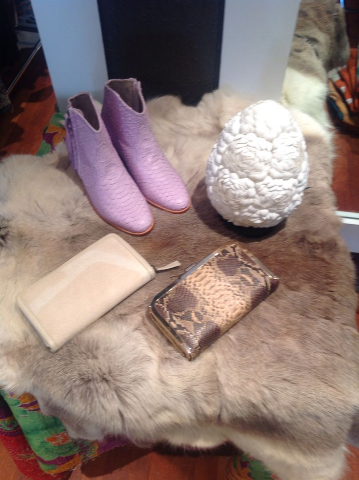 Amazing lilac boots our jfahri designed shell egg lamp and a couple of jfahri wallets all working together...