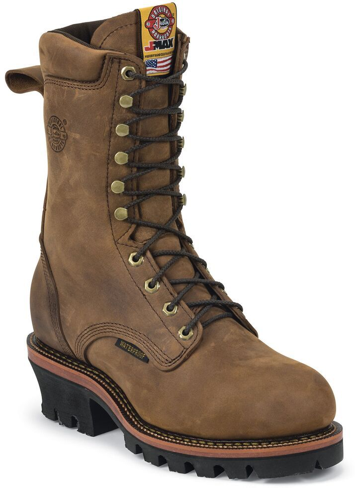 Justin Men S Casement 10 Aged Bark Eh Waterproof Logger Boots Steel Toe Aged Bark In 2020 Logger Boots Mens Leather Boots Boots