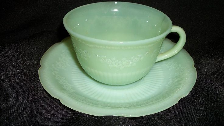 Fire King Alice Jadeite Jadite jADE ITE GREEN Coffee Tea Cup & Saucer Set