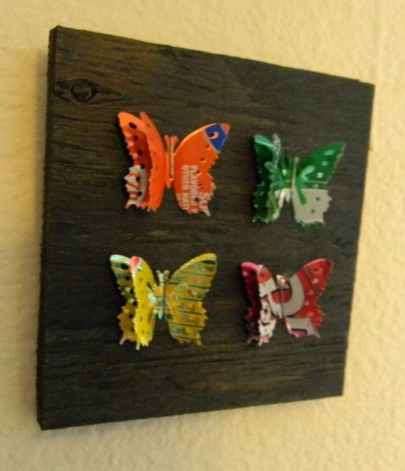 Soda Pop Art, Recycled UpCycled Soda Can Butterfly Shaped Collage Art - Multi Color Square 4 Butterflies via Etsy