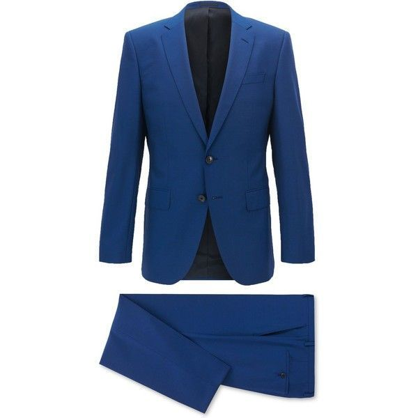 Boss Men's Slim-Fit Suit ($845) ❤ liked on Polyvore featuring men's fashion, men's clothing, men's suits, mediumblue, pastel mens clothing, mens blue slim fit suit, slim fit mens clothing, mens slim fit suits and mens blue suit #slimfitsuits #menssuitsfit