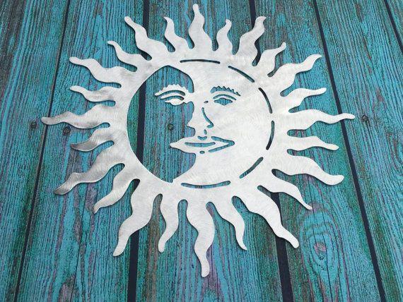 Metal Sun and Moon wall art indoor outdoor by ScreenDoorGrilles