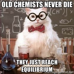 Chemistry Cat - Old Chemists never die they just reach equilibrium                                                                                                                                                                                 Plus