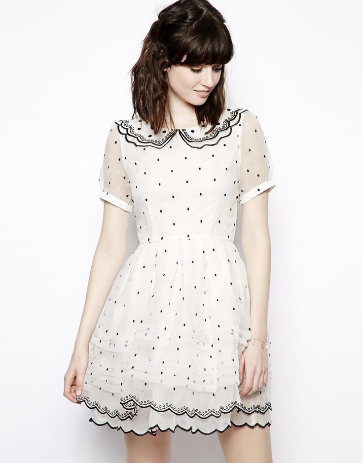 Nishe Allover Polka Dot Collar Prom Dress // elongate this and i would totally have it for wedding dress