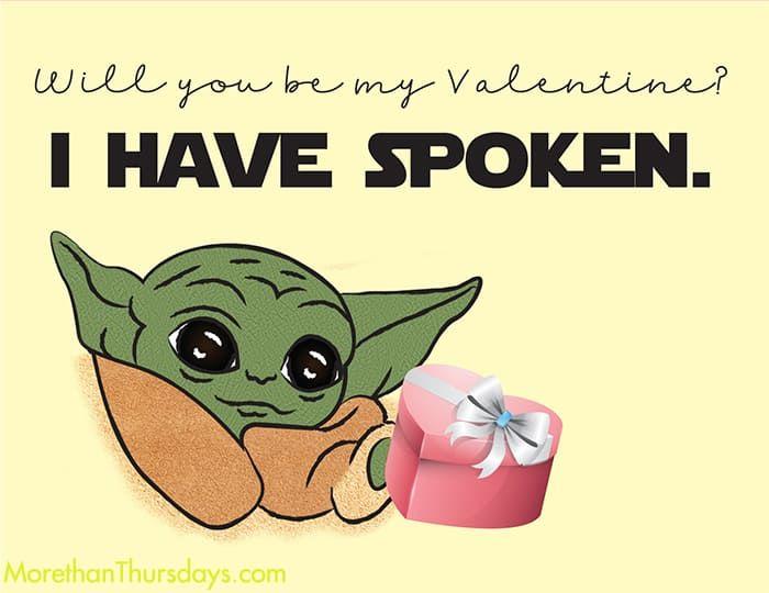 Free Baby Yoda Valentine Printable Starwars Themandalorian Valentinesday Babyyoda Thechild Yoda Valentine Cards Free Baby Stuff Valentines Printables