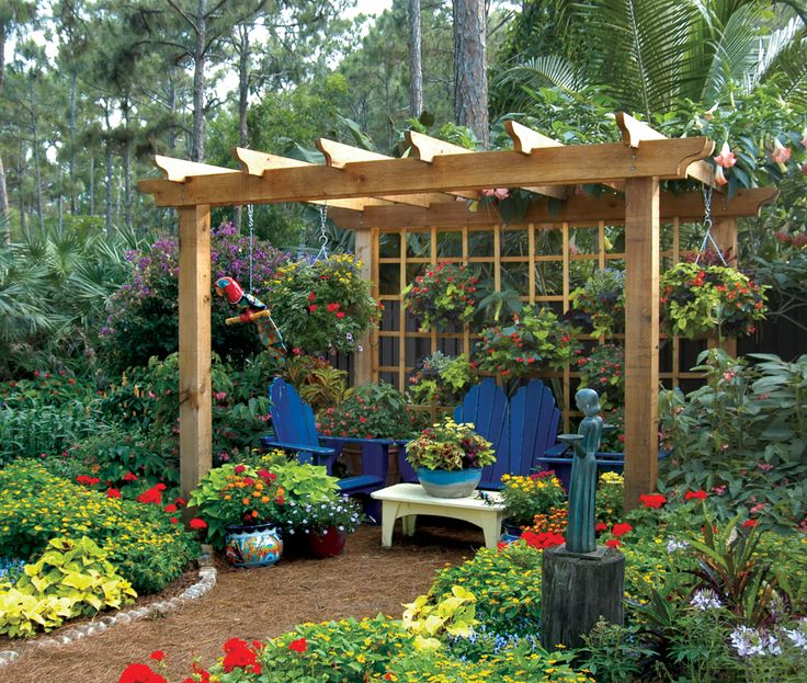 I Want A Very Large Garden With A Stone Path That Leads To A Trellis Swing!