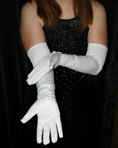 Long elbow white nylon gloves formal wedding pageant prom for Wedding dress with long gloves
