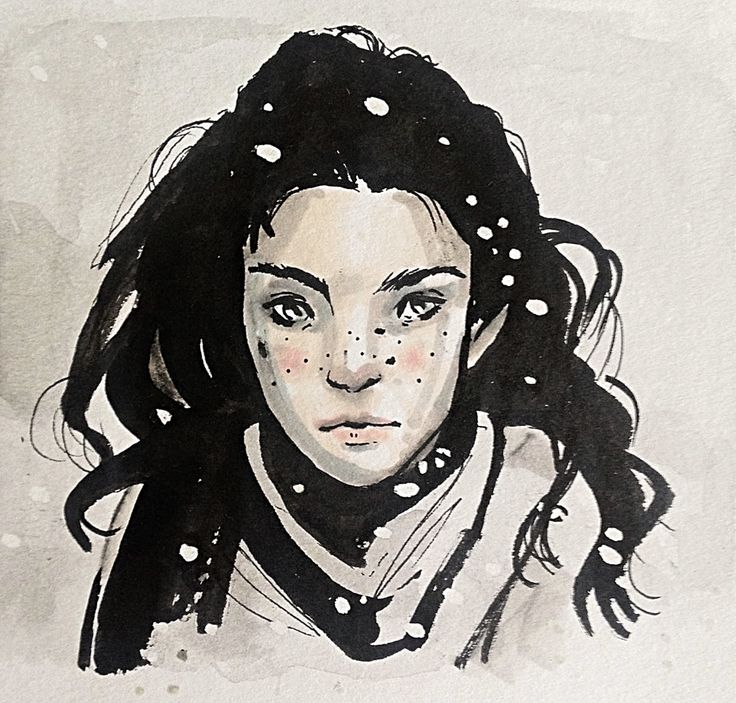 Snowy days, model ref from Zang media. #Portrait #drawing #snow