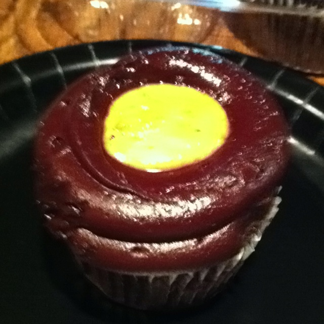 Chocolate peanut butter filled cupcakes with chocolate ganache frosting! Yum!