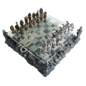 Pewter and Glass Dragon Chess Set $224.95
